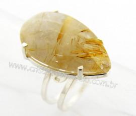 Anel Pedra Rutilo Ouro Montado na Prata Ajustavel REFF AP3770