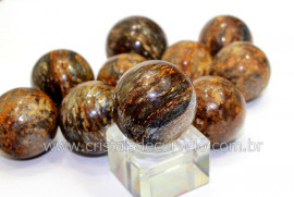 01 Mini Bola Pedra Bronzita Esfera Pequena Em Pedra Natural Reff 33.8