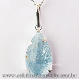 Pingente Gota Topazio Azul Pedra Natural Garra Prateado 112587