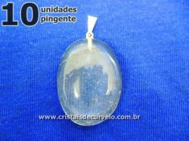 10 Pingente Cabochão CRISTAL Pedra Natural Castoação Pino Banhado Prata