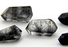 Quartzo Tibetano Pedra Natural Bi Terminado Inclusão Negra REFF 12.5