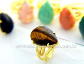 5 Anel Gota Pedra Mista Dourado Ajustavel ATACADO REF AP3593