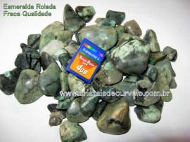 Pedra Esmeralda Rolado Baixo Qualidade de Verde T Grande 1 kg