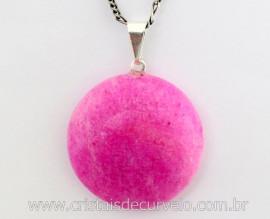 Pingente Disco Liso Amazonita Pink Pedra Natural Pino Prateado