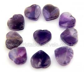 10 Coração Pedra Ametista Ranhurado Pra Montagem REFF CR7203