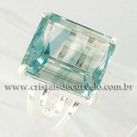 Anel Pedra Topazio Azul Facetado Prata 950 Ajustavel 112445