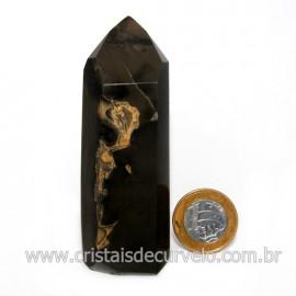 Ponta Onix Preto Pedra Natural Gerador Sextavado Cod 128909