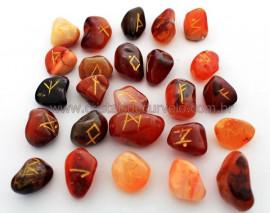 Jogo de Runas Alfabeto Antiga Europa Viking 25 Pedras Natural Agata Cornalina