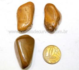 03 Jaspe Amarelo Rolado Pedra Natural de Garimpo Esoterismo Colecionador Reff 33.6