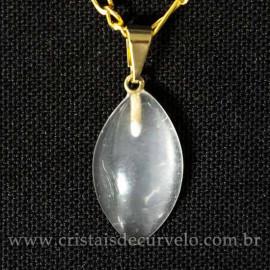 Mini Pingente Navete 20mm Pedra Cristal Opalado Natural Dourado