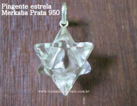 Merkaba Pedra Cristal Extra  Pingente Argola Prata 950