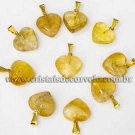 Pingente Mini Coração Citrino Pedra Natural Dourado 112914