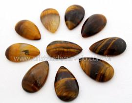 10 Gota pra Pingente Pedra Olho de Tigre Lapidado Calibrado 27 x 16 MM