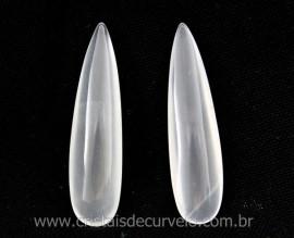 4 Pares Gota Longa pra Pingente ou Brinco Pedra Quartzo Cristal Opalado Lapidado 40 x 10 mm
