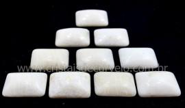 10 Retangulo Cabochao pra Pingente Pedra Feldspato Branco Calibrado 15 x 20 MM