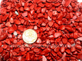Jaspe Vermelho Pedra Rolado Miudo Pacotinho 200 Gr Mineral Natural   PJ3137