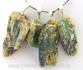 Pingente Cianita Verde Canudo Pedra Natural Montagem Presilha e Pino Prateado