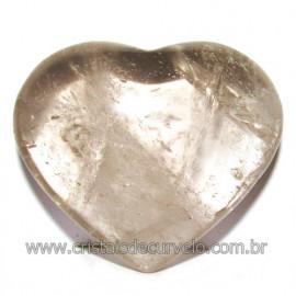 Coraçao Pedra Quartzo Fume com Esfumaçado Natural Cod 116104