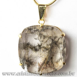 Pingente Pedra Cristal Rutilo Baguette Garra Dourada 112953