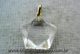 Pentagrama Pingente Pedra Cristal Ouro 18 Ct Pingente Estrela