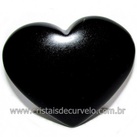 Coraçao de Obsidiana Negra Mineral Lava Vulcanica Cod 116332