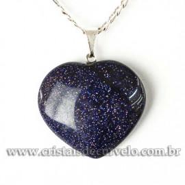 Pingente CORAÇÃO Pedra Estrela Azul  Montagem Banhado Prata