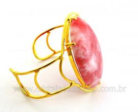 Bracelete Fixo Pedra Quartzo Goiaba Grande Dourado REFF BG7663