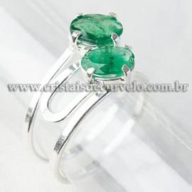 Anel 2 Gema Esmeralda Extra Facetado Prata 950 Ajustavel 112526